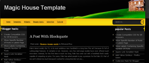 magic house blogger template